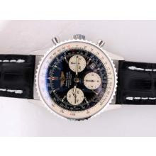 Breitling Navitimer Chronograph Asia Valjoux 7750 AR Recubrimiento Con Dial Negro
