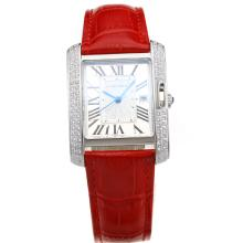 Cartier Tank Diamond Bisel Con White-Red Dial Correa De Cuero
