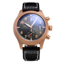IWC Pilot Top Gun Rose Gold Case Working Chronograph with Black Dial-Leather Strap