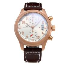 IWC Pilot Top Gun Rose Gold Case Working Chronograph with White Dial-Leather Strap