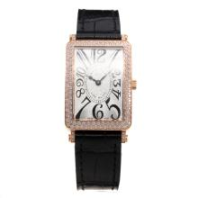 Franck Muller Long Island Rose Gold Case Diamond Bezel with White Dial-Leather Strap
