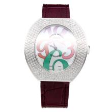 Franck Muller Conquistador Diamond Bezel with MOP Dial-Purple Leather Strap