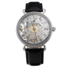 Vacheron Constantin Manual Winding Diamond Bezel with Skeleton Dial-Leather Strap