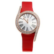 Piaget Limelight Rose Gold Case Diamond Bezel with Silver Dial-Red Leather Strap