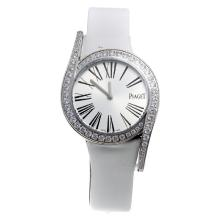 Piaget Limelight Diamond Bezel with Silver Dial-White Leather Strap