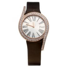 Piaget Limelight Rose Gold Case Diamond Bezel with Silver Dial-Brown Leather Strap