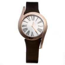Piaget Limelight Rose Gold Case with Silver Dial-Brown Leather Strap