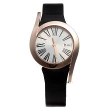 Piaget Limelight Rose Gold Case with Silver Dial-Black Leather Strap