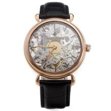 Vacheron Constantin Manual Winding Rose Gold Case with Skeleton Dial-Leather Strap-2