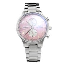 IWC Portuguese Working Chronograph with Pink MOP Dial S/S