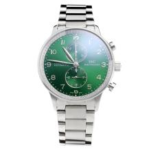 IWC Portuguese Working Chronograph Diamond Bezel with Green Dial S/S