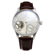 IWC Portuguese Tourbillon Manual Winding with White Dial-Leather Strap