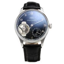 IWC Portuguese Tourbillon Manual Winding with Black Dial-Leather Strap