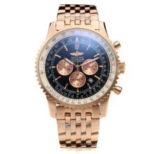 Breitling Navitimer Working Chronograph Full Rose Gold Case Black Dial