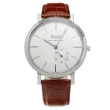 Piaget Altiplano Automatic Diamond Bezel with White Dial-Leather Strap