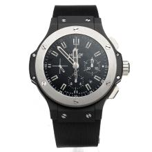Hublot Big Bang Chronograph Swiss Valjoux 7750 Movement PVD Case with Black Dial-Rubber Strap