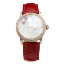 Blancpain Rose Gold Case Diamond Bezel with MOP Dial-Red Leather Strap-1