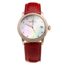Blancpain Rose Gold Case Diamond Bezel with MOP Dial-Red Leather Strap