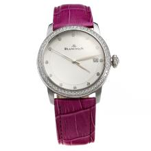 Blancpain Diamond Bezel with White Dial-Purple Leather Strap