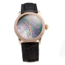 Blancpain Rose Gold Case Diamond Bezel with Black MOP Dial-Black Leather Strap