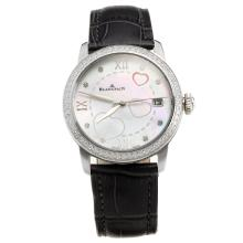 Blancpain Diamond Bezel with MOP Dial-Black Leather Strap