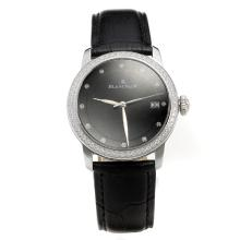 Blancpain Diamond Bezel with Black Dial-Black Leather Strap