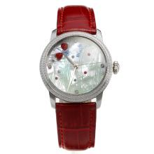 Blancpain Diamond Bezel with MOP Dial-Red Leather Strap