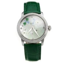 Blancpain Diamond Bezel with MOP Dial-Green Leather Strap
