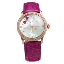 Blancpain Rose Gold Case Diamond Bezel with MOP Dial-Purple Leather Strap