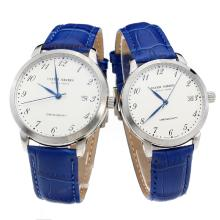 Ulysse Nardin Number Markers with White Dial-Blue Leather Strap