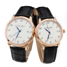 Ulysse Nardin Rose Gold Case Number Markers with White Dial-Black Leather Strap