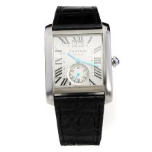 Cartier Tank Automatic with White Dial-Black Leather Strap-1