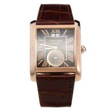 Cartier Tank Automatic Rose Gold Case with Brown Dial-Brown Leather Strap