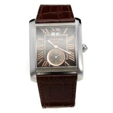 Cartier Tank Automatic with Black Dial-Brown Leather Strap