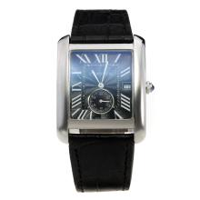 Cartier Tank with Black Dial-Black Leather Strap-1