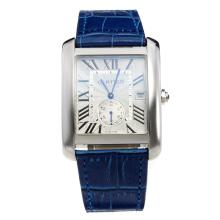Cartier Tank with White Dial-Blue Leather Strap