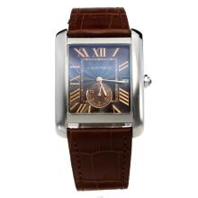 Cartier Tank with Brown Dial-Brown Leather Strap-1