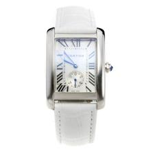 Cartier Tank with White Dial-White Leather Strap