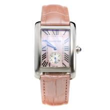 Cartier Tank with Pink MOP Dial-Pink Leather Strap-1