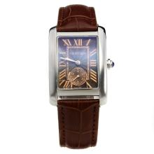 Cartier Tank with Brown Dial-Brown Leather Strap