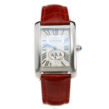 Cartier Tank with White Dial-Red Leather Strap