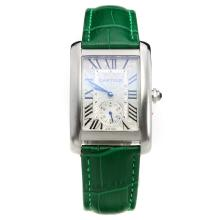 Cartier Tank with White Dial-Green Leather Strap