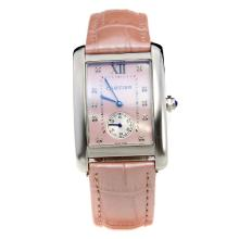 Cartier Tank with Pink MOP Dial-Pink Leather Strap