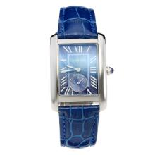 Cartier Tank with Blue Dial-Blue Leather Strap
