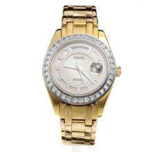Rolex Masterpiece II Swiss ETA 2836 Movement Full Gold CZ Diamond Bezel with MOP Dial
