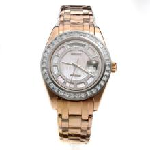 Rolex Masterpiece II Swiss ETA 2836 Movement Full Rose Gold CZ Diamond Bezel with MOP Dial