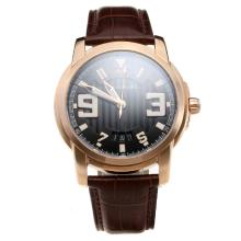 Blancpain MIYOTA 9015 Automatic Movement Rose Gold Case with Black Dial-Leather Strap