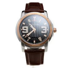 Blancpain Two Tone Case with Black Dial-Leather Strap