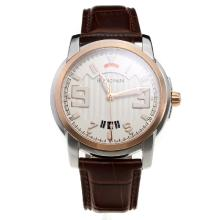 Blancpain MIYOTA 9015 Automatic Movement Two Tone Case with White Dial-Leather Strap