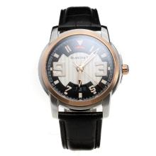 Blancpain MIYOTA 9015 Automatic Movement Two Tone Case with White/Black Dial-Leather Strap